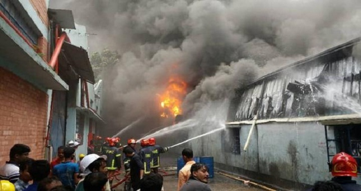 Fire fighters are seen trying to bring the fire under control at a foam factory in Borobari area of Gazipur city on Tuesday (3 July 2018). -- Photo: UNB