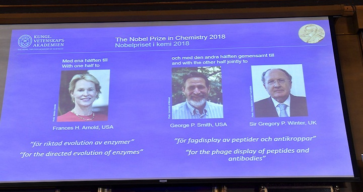 The 2018 Nobel Prize laureates for Chemistry are shown on the screen from left, Frances H Arnold of the US, George P Smith of the US, and Gregory P Winter of Britain, during the announcement at the Royal Swedish Academy of Sciences in Stockholm, Tuesday Oct. 3, 2018.