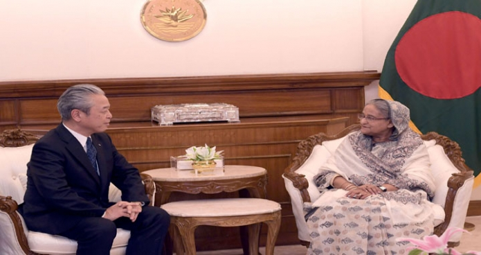 সোমবার প্রধানমন্ত্রী শেখ হাসিনা ঢাকায় তাঁর কার্যালয়ে জেরা কোং ইঙ্ক এর প্রেসিডেন্ট 'সাতোশি ওনোদা' সাক্ষাৎ করেন-পিআইডি