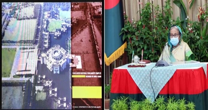 বুধবার প্রধানমন্ত্রী শেখ হাসিনা ঢাকায় গণভবনে জাতীয় সংসদ ভবনের বিভিন্ন উন্নয়নমূলক কাজের উপস্থাপনা প্রত্যক্ষ করেন -পিআইডি