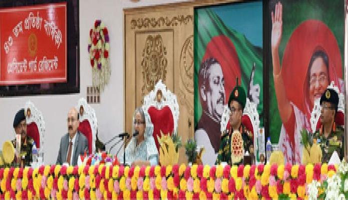 প্রধানমন্ত্রী শেখ হাসিনা বৃহস্পতিবার ঢাকা সেনানিবাসে পিজিআরের ৪৩ তম প্রতিষ্ঠাবার্ষিকী উপলক্ষে আয়োজিত অনুষ্ঠানে প্রধান অতিথির বক্তৃতা করেন-এবিনিউজ