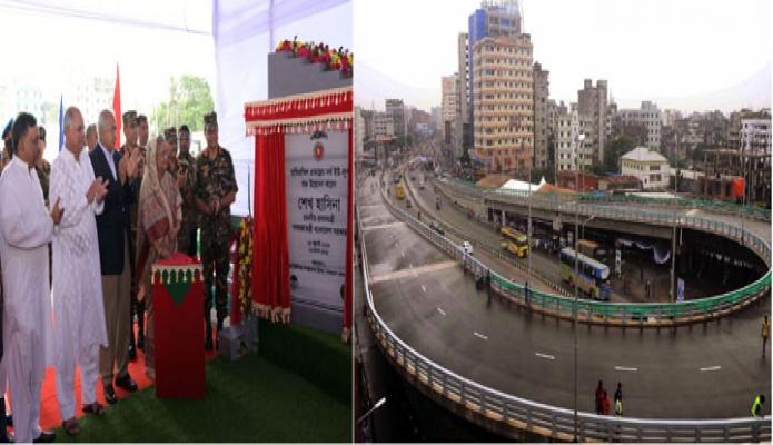 প্রধানমন্ত্রী শেখ হাসিনা শনিবার রাজধানীর বাড্ডায় হাতিরঝিল প্রকল্পের নর্থ ইউ-লুপ উদ্বোধন করেন- এবিনিউজ