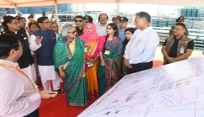 প্রধানমন্ত্রী শেখ হাসিনা শনিবার পটুয়াখালীর পায়রা তাপ বিদ্যুৎ কেন্দ্রে পায়রা তাপ বিদ্যুৎ কেন্দ্র পরিদর্শন করেন-এবিনিউজ