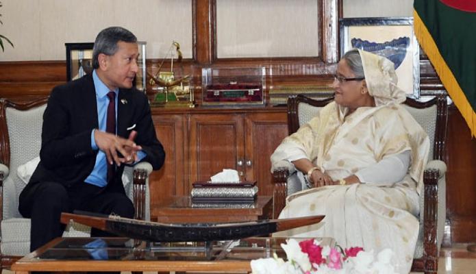 রবিবার ঢাকায় প্রধানমন্ত্রী শেখ হাসিনার সাথে গণভবনে সিঙ্গাপুরের পররাষ্ট্রমন্ত্রী ' ড: ভিভিয়ান বালাকৃষ্ণণ' সাক্ষাৎ করেন-এবিনিউজ