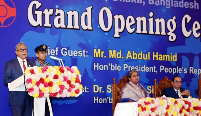 শুক্রবার ঢাকায় রাষ্ট্রপতি মোঃ আবদুল হামিদ শহীদ সোহরাওয়ার্দী ইনডোর স্টেডিয়ামে ১৭তম এশিয়া উন্মুক্ত ফুলকন্টাক্ট কারাতে প্রতিযোগিতা ২০১৮ অনুষ্ঠানে ভাষণ দেন-এবিনিউজ