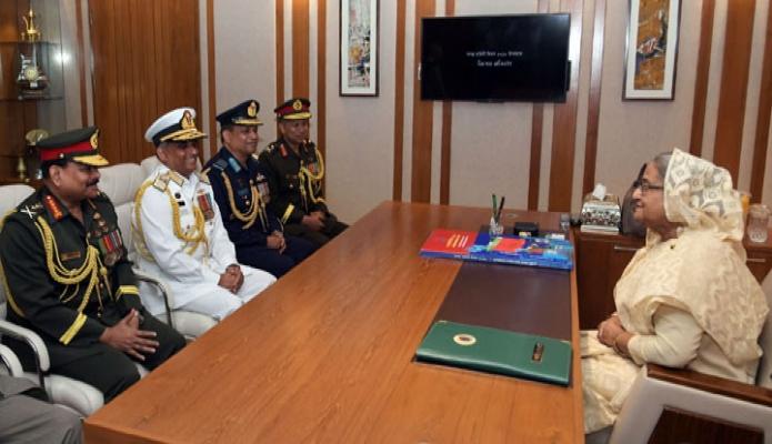 বুধবার প্রধানমন্ত্রী শেখ হাসিনা সশস্ত্রবাহিনী দিবস উপলক্ষে তিন বাহিনীর প্রধানগণ সাক্ষাৎ করেন-এবিনিউজ