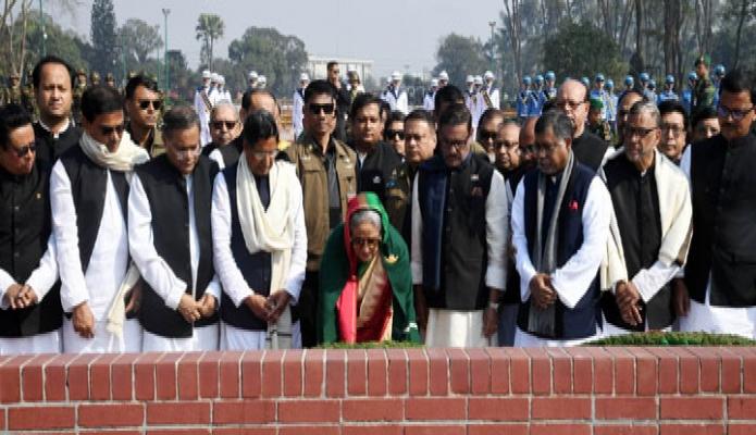 মঙ্গলবার প্রধানমন্ত্রী শেখ হাসিনা সাভার জাতীয় স্মৃতিসৌধে নবনিযুক্ত মন্ত্রিপরিষদের সদস্যদের নিয়ে পুষ্পস্তবক অর্পণ করেন-পিআইডি
