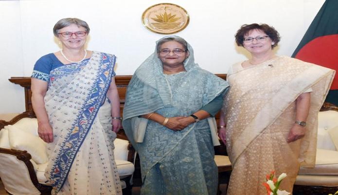 মঙ্গলবার প্রধানমন্ত্রী শেখ হাসিনার সাথে তাঁর কার্যালয়ে ডেনমার্কের রাষ্ট্রদূত Winnie Estrup Petersen  এবং নরওয়ের রাষ্ট্রদূত Sidsel Bleken  সাক্ষাৎ করেন -পিআইডি