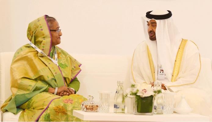 রবিবার প্রধানমন্ত্রী শেখ হাসিনার সাথে আবুধাবির National Exhibition Cenre ( ADNEC )-এ আবুধাবির ক্রাউন প্রিন্স Sheikh Mohammed bin Zayed bin Sultan Al-Nahyan বৈঠক করেন -পিআইডি