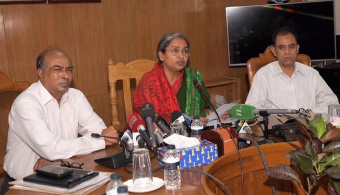 সোমবার শিক্ষামন্ত্রী ডা. দীপু মনি ঢাকায় শিক্ষা মন্ত্রণালয়ের সম্মেলন কক্ষে এইচএসসি পরীক্ষার আইনশৃঙ্খলা বিষয়ে সাংবাদিকদেরকে ব্রিফ করেন -পিআইডি
