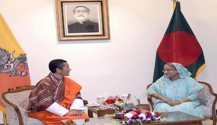 শনিবার ভুটানের প্রধানমন্ত্রী ডা. লোটে শেরিং এবং বাংলাদেশের প্রধানমন্ত্রী শেখ হাসিনা ঢাকায় প্রধানমন্ত্রী কার্যালয়ে একান্ত বৈঠক করেন -পিআইডি