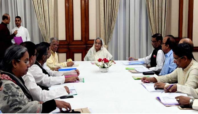 রবিবার প্রধানমন্ত্রী শেখ হাসিনা ঢাকায় গণভবনে স্থানীয় সরকার নির্বাচনে মনোনয়ন বোর্ডের সভায় সভাপতিত্ব করে -পিআইডি