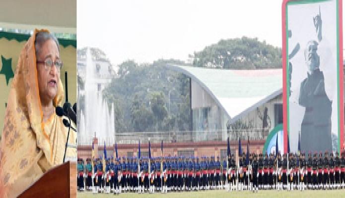 রবিবার প্রধানমন্ত্রী শেখ হাসিনা ঢাকায় রাজারবাগ পুলিশ লাইনে 'পুলিশ সপ্তাহ ২০২০' উপলক্ষে আয়োজিত অনুষ্ঠানে বক্তৃতা করেন -পিআইডি