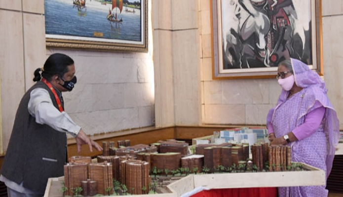 বৃহস্পতিবার প্রধানমন্ত্রী শেখ হাসিনা গণভবন স্বাস্থ্য ও পরিবার কল্যাণ, যুব ও ক্রীড়া এবং পানি সম্পদ মন্ত্রণালয়ের বিভিন্ন প্রকল্পের নক্শা উপস্থাপন পর্যবেক্ষণ করেন -পিআইডি