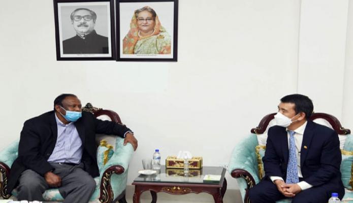 বুধবার বাণিজ্যমন্ত্রী টিপু মুনশির সাথে তাঁর অফিসকক্ষে ভুটানের রাষ্ট্রদূত 'Rinchen Kuentsyl, সাক্ষাৎ করেন -পিআইডি