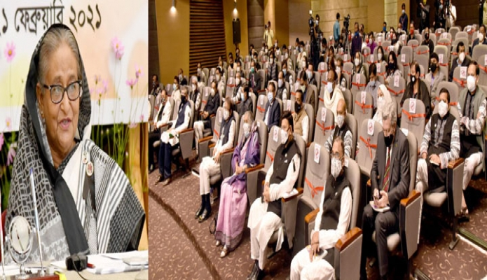 রবিবার প্রধানমন্ত্রী শেখ হাসিনা ঢাকায় আন্তর্জাতিক মাতৃভাষা ইনস্টিটিউটে আন্তর্জাতিক মাতৃভাষা দিবসে আয়োজিত অনুষ্ঠানে ভার্চুয়ালি প্রধান অতিথির বক্তৃতা করেন -পিআইডি