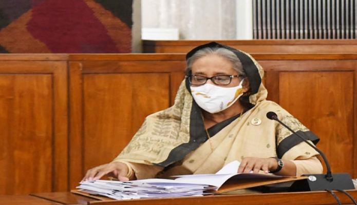 সোমবার প্রধানমন্ত্রী শেখ হাসিনা জাতীয় সংসদের মন্ত্রিপরিষদ কক্ষে অনুষ্ঠিত মন্ত্রিপরিষদ সভায় সভাপতিত্ব করেন -পিআইডি