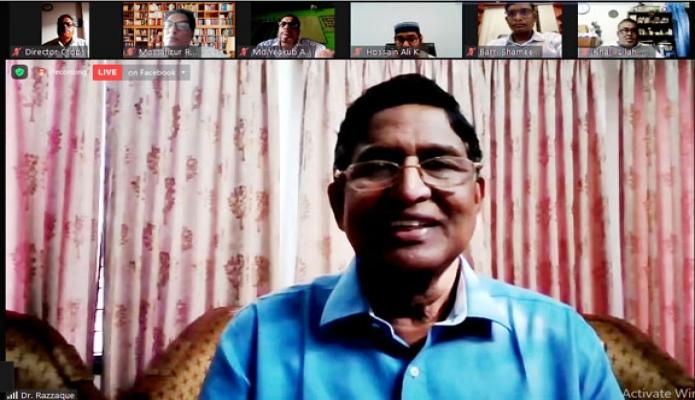 সোমবার কৃষিমন্ত্রী ড. মোঃ আব্দুর রাজ্জাক 'তামাক চাষ নিয়ন্ত্রণ ও খাদ্য উৎপাদনে করণীয়' শীর্ষক ওয়েবিনারে বক্তৃতা করেন -পিআইডি